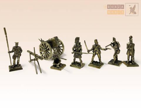 набор солдатиков Британская армия периода Крымской Войны c ракетной установкой и фурой - 1853-56 г. 7 шт.