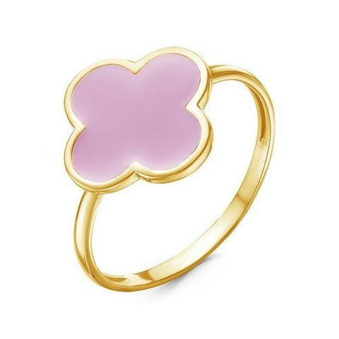 с910470 - Кольцо Клевер из серебра с лимонной позолотой и розовой эмалью