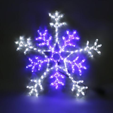 Снежинка светодиодная d-80 см. Бело-синяя с контроллером