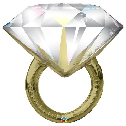 Воздушный шар фигура Кольцо с бриллиантом, золото, 94 см