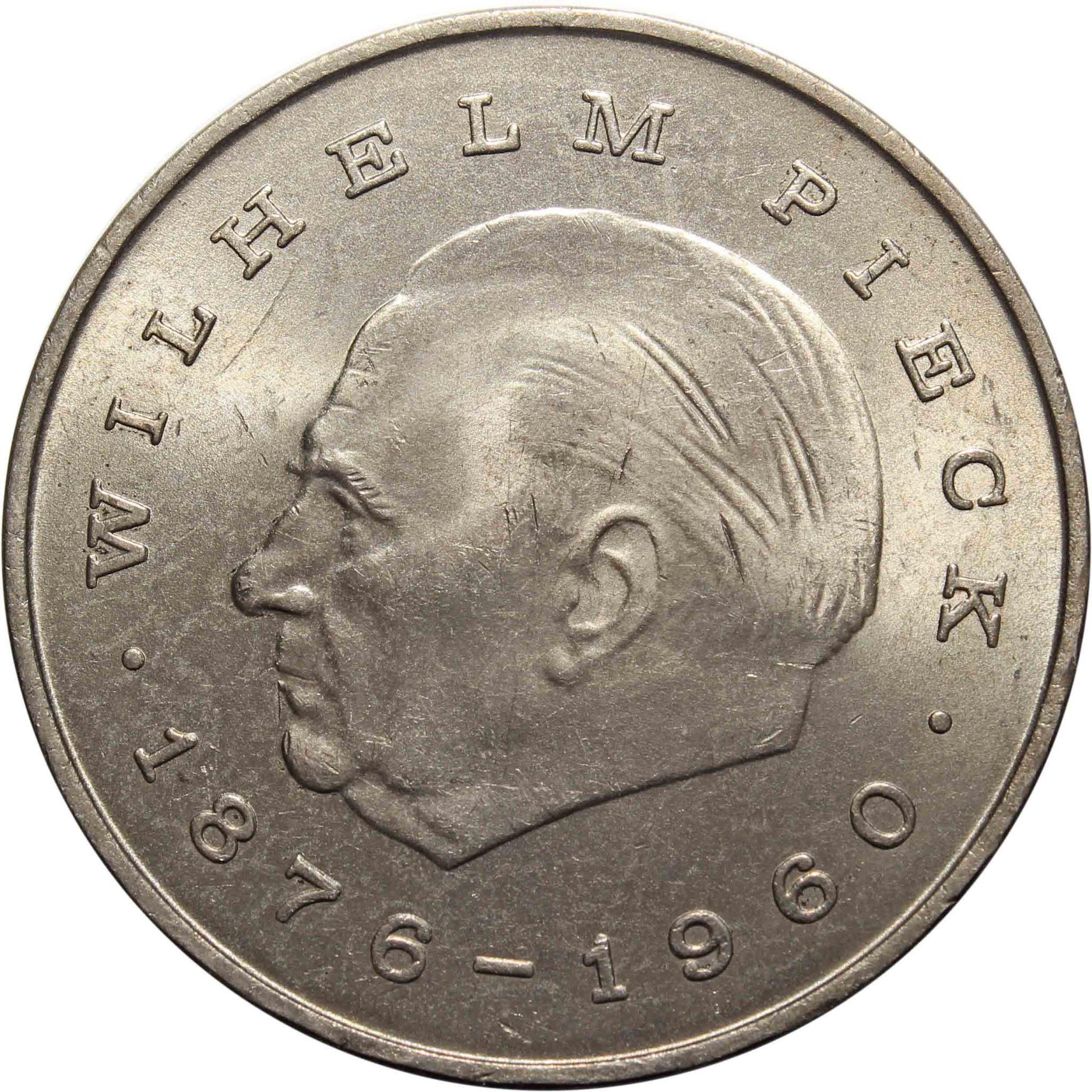 20 марок. Первый президент ГДР - Вильгельм Пик. (A). Германия-ГДР. Медноникель. 1972 год. XF