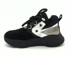 Черные зимние кроссовки из комбинированной кожи на шерсти
