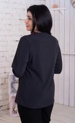 Ольга. Стильная комбинированная блуза. Черный