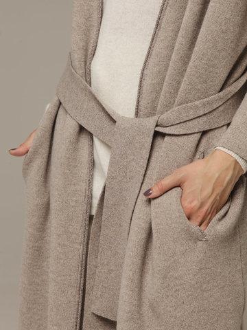 Женский бежевый кардиган на поясе из шерсти и кашемира - фото 2