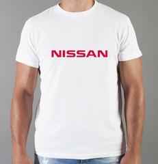 Футболка с принтом Ниссан (Nissan) белая 002