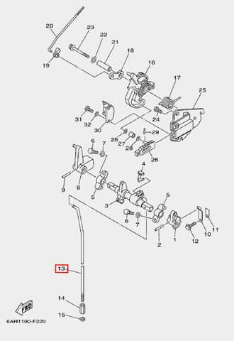 Штанга п-п для лодочного мотора F20 Sea-PRO (18-13)