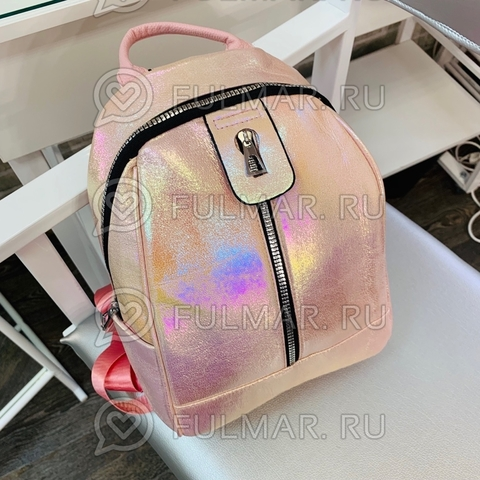 Рюкзак для девочки Голографический с переливами Персиковый