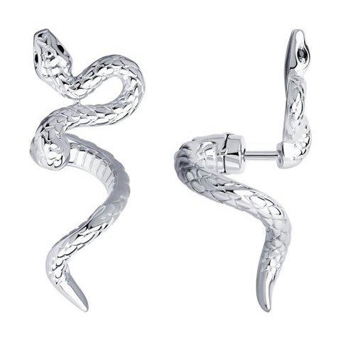 94024193 - Серьги Змеи из серебра с фианитами