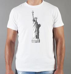 Футболка с принтом США, Статуя Свободы (USA/ Statue of Liberty ) белая 0017