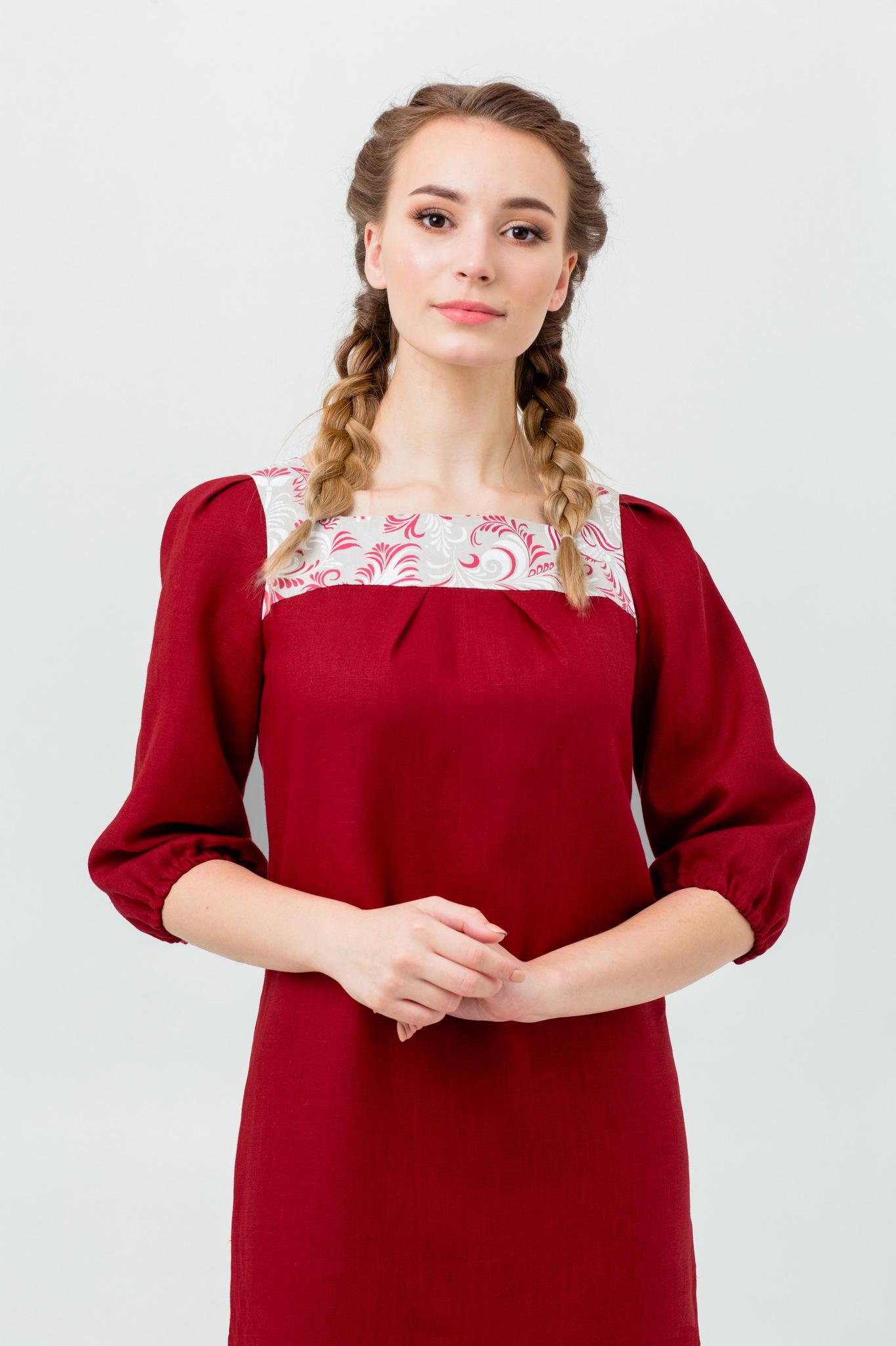 Нарядное льняное платье Сладкая брусника