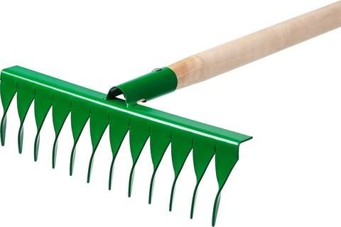 РОСТОК 12 витых зубьев, 370x100x1300 мм, грабли садовые, с деревянным черенком