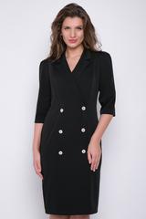 <p>Хит сезона! Элегантное платье модного силуэта с отложным воротом. По переду имитация двубортного фасона. Рукав 3/4</p>