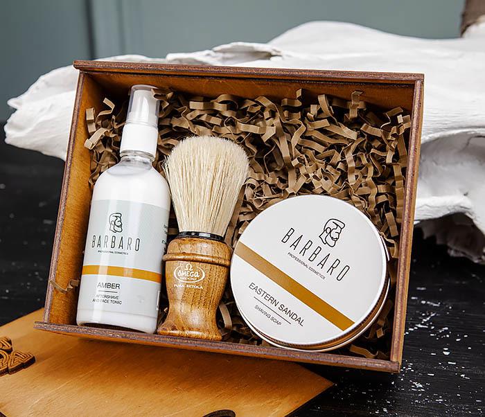 Набор для бритья из бальзама, мыла и помазка «Omega»