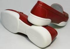 Купить кожаные мокасины женские Evromoda 042.5710 WRed.