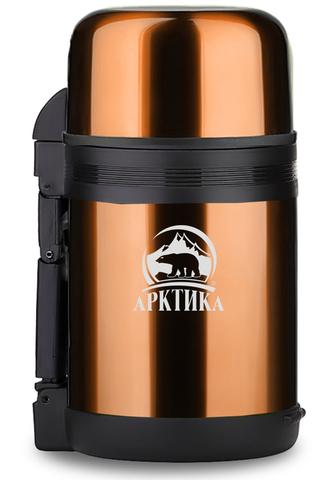 Термос универсальный (для еды и напитков) Арктика (1 литр) с широким горлом, кофейный