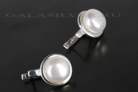 Серьги с жемчугом из серебра 925
