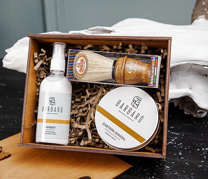 Набор для бритья из бальзама, мыла и помазка «Omega» фото 02