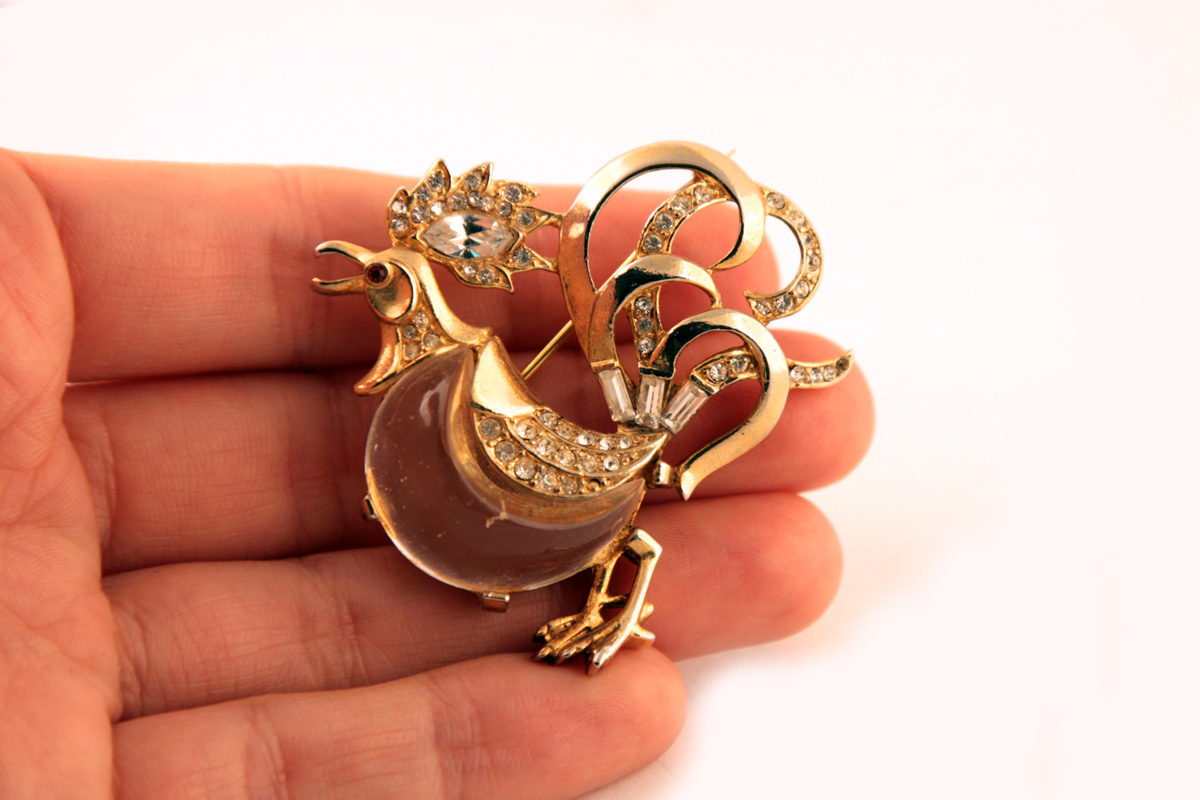 """Golden Trifari brooch """"Fairyland Rooster"""" dated 1949"""