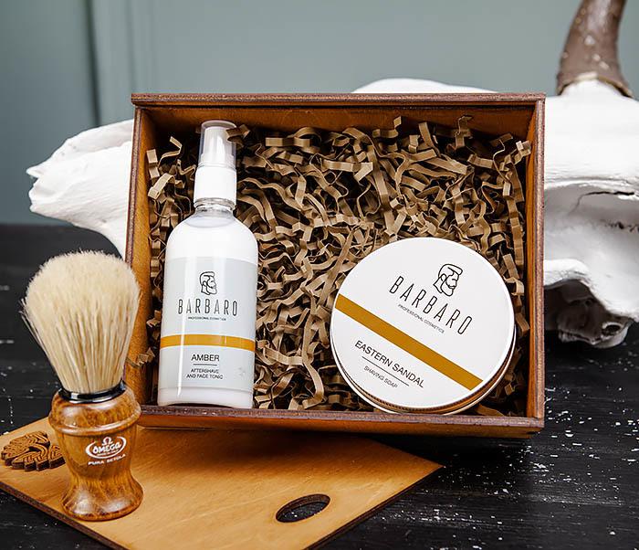 Набор для бритья из бальзама, мыла и помазка «Omega» фото 03
