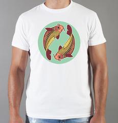 Футболка с принтом Знаки Зодиака, Рыбы (Гороскоп, horoscope) белая 0057
