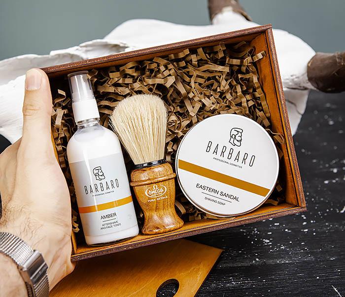 Набор для бритья из бальзама, мыла и помазка «Omega» фото 04