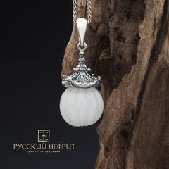 """Кулон """"Доугун"""". Белый нефрит, серебро 925 (3,5г.)."""