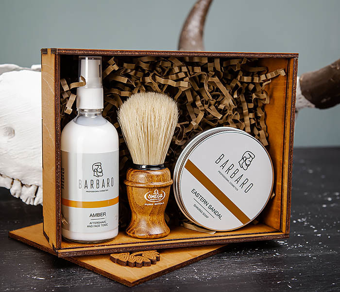 Набор для бритья из бальзама, мыла и помазка «Omega» фото 05