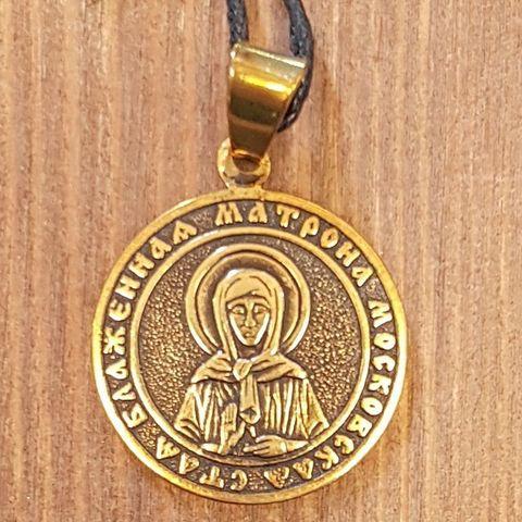 Святая Матрона именная нательная икона из бронзы кулон с молитвой
