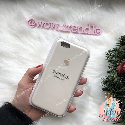 Чехол iPhone 6/6s Silicone Case /antique white/ молочный original quality