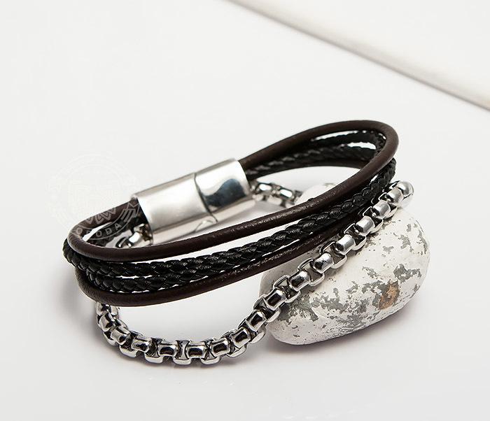 BM423 Необычный браслет из кожаных шнуров и стальной цепочки (20 см) фото 04