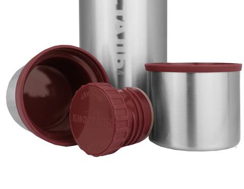 Термос Biostal Охота (1,2 литра), 2 чашки, стальной