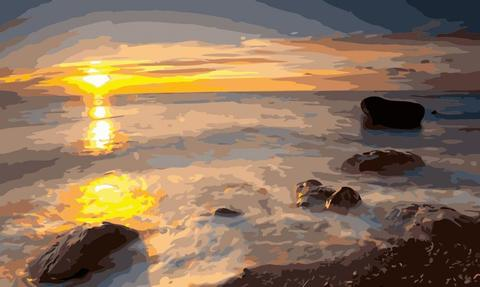 Алмазная Мозаика 40x50 Камни на побережье