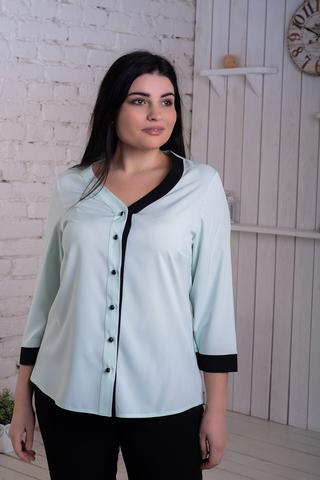 Ольга. Стильная комбинированная блуза. Мята