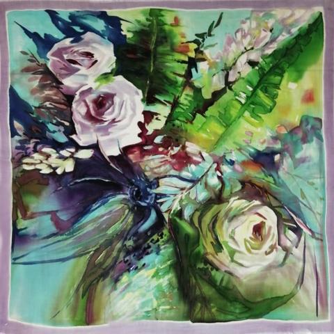 Шерстяной платок батик Лазурь и розы С-74-sh