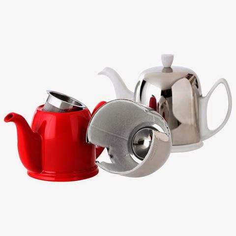 Фарфоровый заварочный чайник на 6 чашек с цинковой крышкой, белый, артикул 216416,