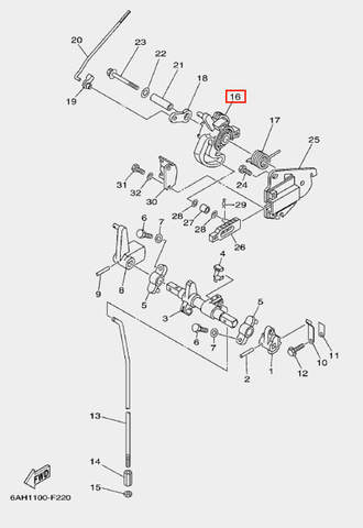 Ролик привода дроссель для лодочного мотора F20 Sea-PRO (18-16)