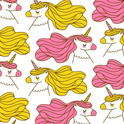 Розовые и желтые единороги на белом фоне