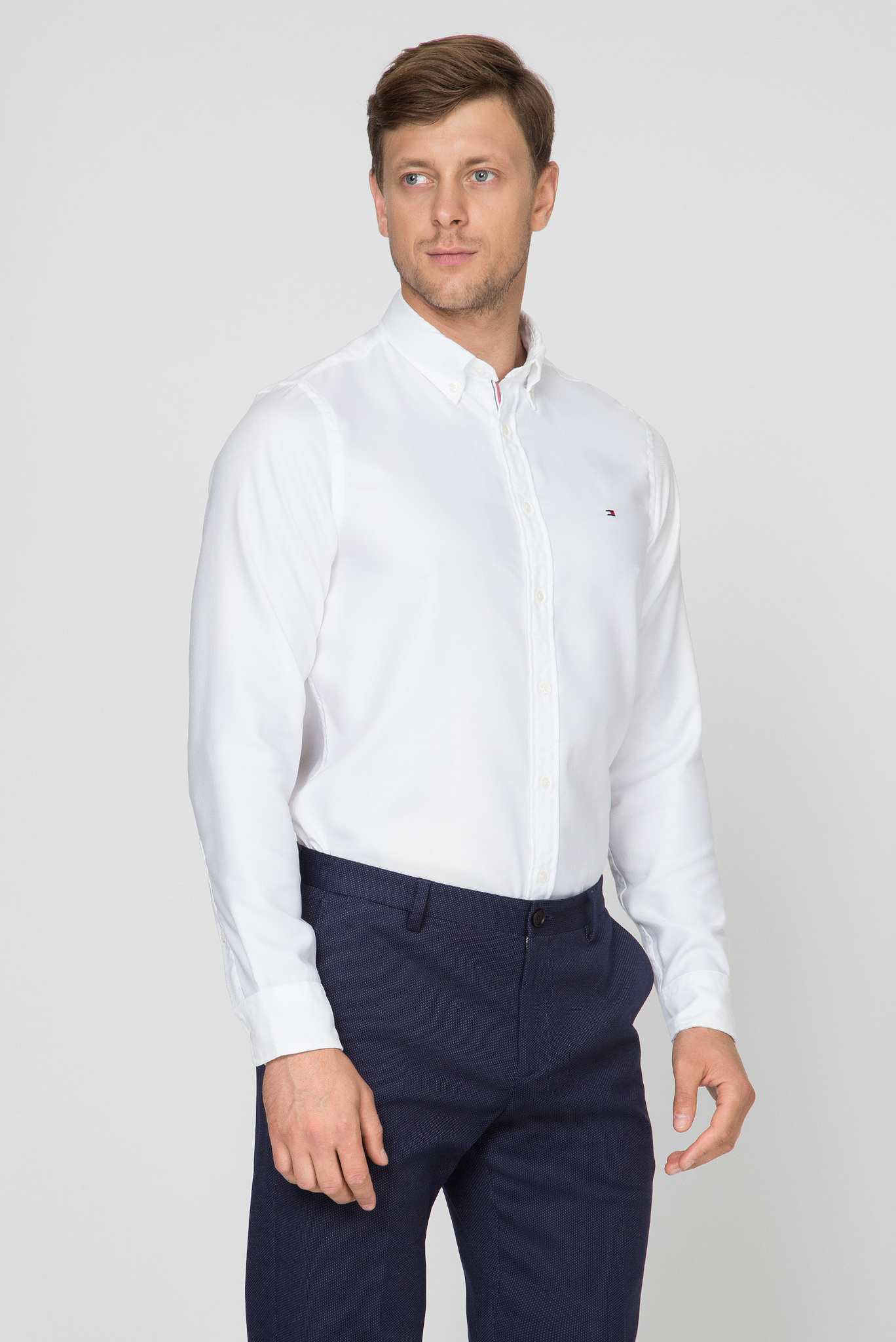 Мужская белая рубашка SLIM ESSENTIAL DOBBY SHIRT Tommy Hilfiger