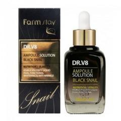 Farmstay DR-V8 Ampoule Solution Black Snail - Ампульная сыворотка для лица с муцином черной улитки