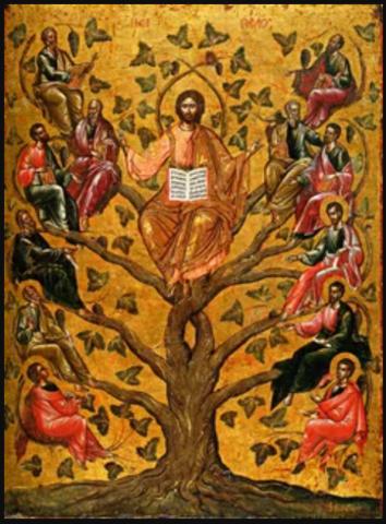 Икона Иисуса Христа Лоза Истинная (Дерево Жизни) на дереве на левкасе мастерская Иконный Дом