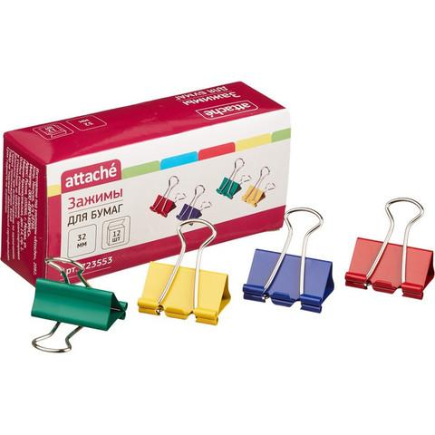 Зажим для бумаг Attache, 32 мм, 12 шт., цветные, в карт.коробке