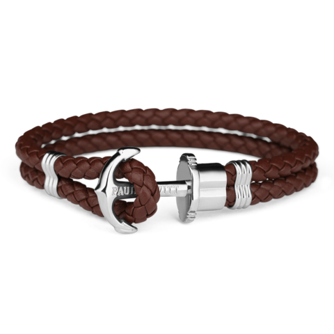 Leather Silver Bracelet Brown