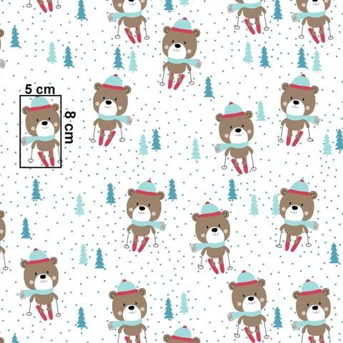 Ткань хлопковая. Мишки на лыжах