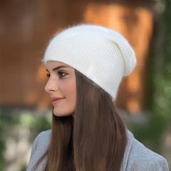 Зимняя шапка из пуха кролика (белая)