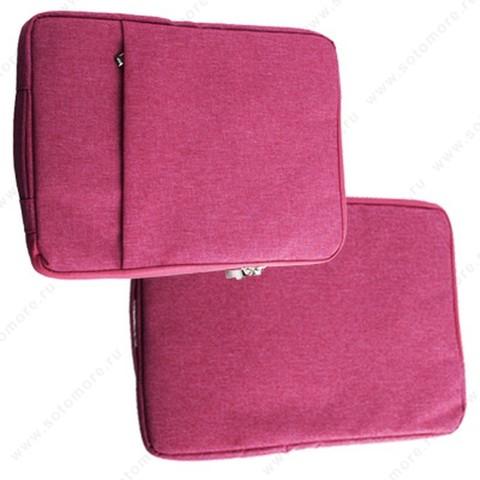 Чехол-сумка для ноутбука 13 Дюймов тканевый на молнии розовый