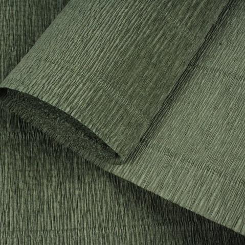 Бумага гофрированная, цвет 17А/8 оливковый, 180г, 50х250 см, Cartotecnica Rossi (Италия)