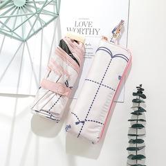 Японский миниатюрный плоский зонт с защитой от УФ, 6 спиц (белый, клетка)