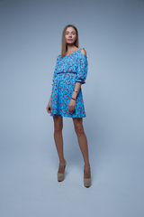 голубое платье в мелкий цветочек купить