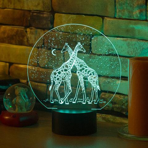 3D ночник Два жирафа
