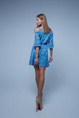 голубое платье в мелкий цветочек недорого